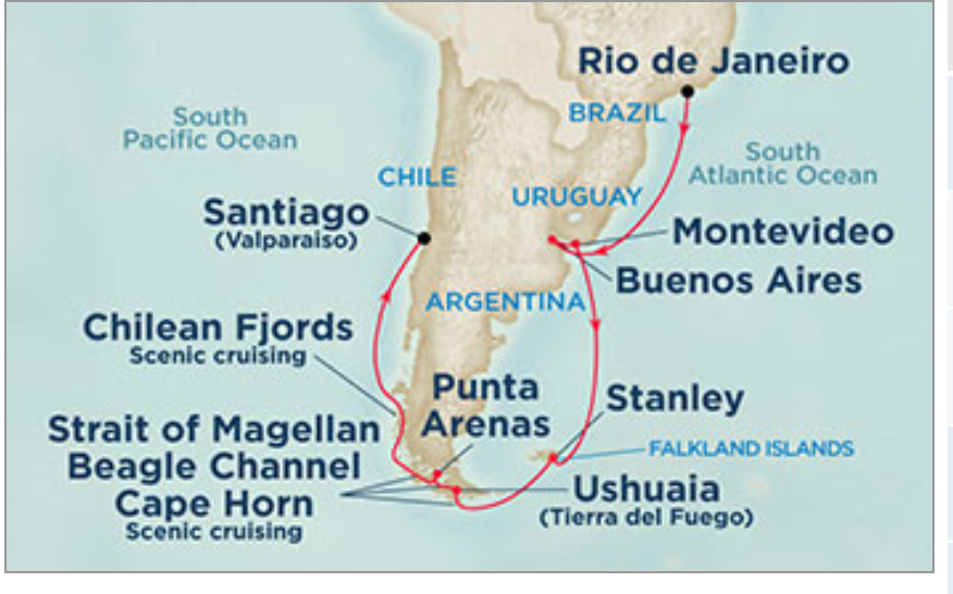 South America Cruise Map Aroundtheworldindaysdotcom - Cruise to south america