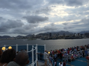 From the top deck of the boat leaving Rio, it was unusually cloudy, but the views were awesome!