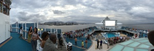 This is my attempt at a panorama photo from on top the ship. Yes, that is a movie screen on the top deck. We watched a few movies out there from the pool or hot tub.