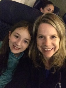 Kim and Lilli flying 1st class from Chicago to Miami, nice start to the trip!