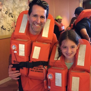 First stop on the ship is to the Muster station to get a few safety tips and try on the lifejackets. Luckily we didn't need them.